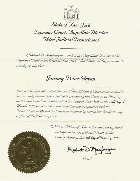 Jeremy P Green New York Bar Certification