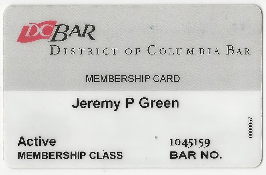 Jeremy P Green D.C. Bar Card